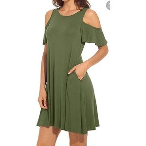 NEW Army Green Dress Cold Shoulders